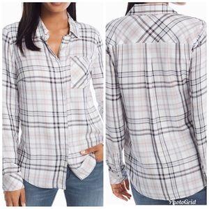 NWT White House Black Market Plaid Button Up Shirt